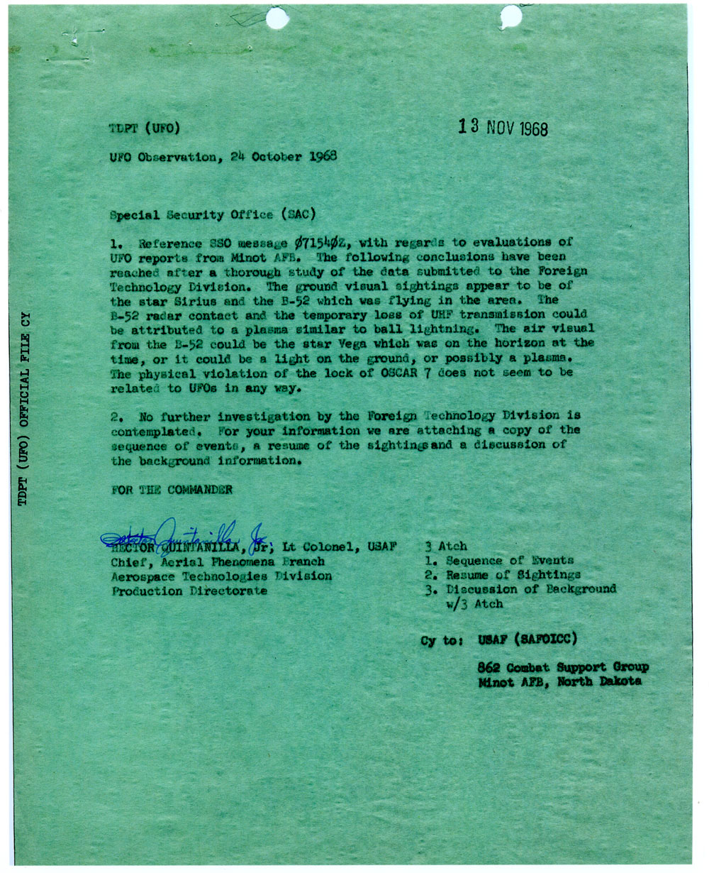 project blue book report 13 The results of this study (which were detailed in project blue book special report no 14) were very a ufo sighting report from the project sign era after project blue book was terminated in 1969.