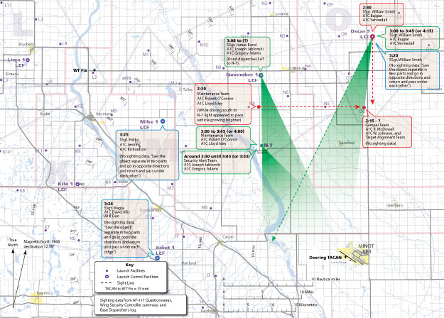 Minot Ground Observation Map 1, 2 & 3 Overlay