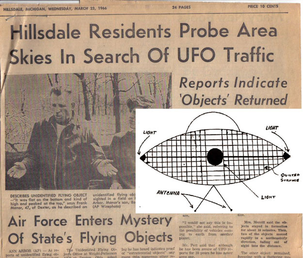 Hillsdale News Headline and Drawing of the UFO